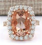 831 CTW Natural Morganite And Diamond Ring In 14k Rose