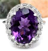 930 CTW Natural Amethyst 18K Solid White Gold Diamond