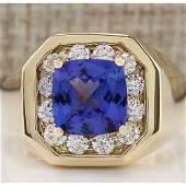 MENS 404 CTW Natural Blue Tanzanite And Diamond Ring