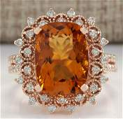 639 CTW Natural Madeira Citrine And Diamond Ring 18K