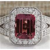 578 CTW Natural Pink Tourmaline And Diamond Ring 18K