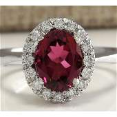 235 CTW Natural Pink Tourmaline And Diamond Ring 18K