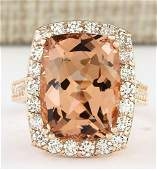 1146 CTW Natural Morganite And Diamond Ring In 14k
