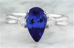170 CTW Tanzanite 14K White Gold Diamond Ring