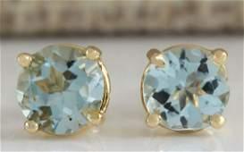 106 CTW Natural Blue Aquamarine Earrings In 18K Yellow