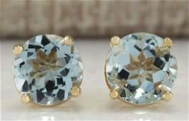 224 CTW Natural Blue Aquamarine Earrings In 18K Yellow