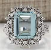 558 CTW Natural Blue Aquamarine Diamond Ring 18K Solid