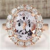 566 CTW Natural Morganite And Diamond Ring 14K Solid