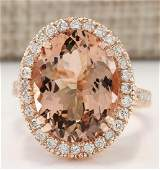 826 CTW Natural Morganite And Diamond Ring In 14k Rose