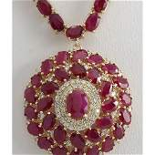 5896 CTW Natural Ruby And Diamond Necklace In 14K