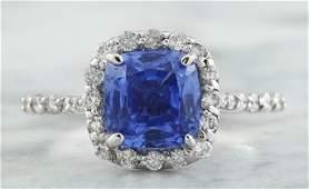 315 CTW Sapphire 18K White Gold Diamond Ring