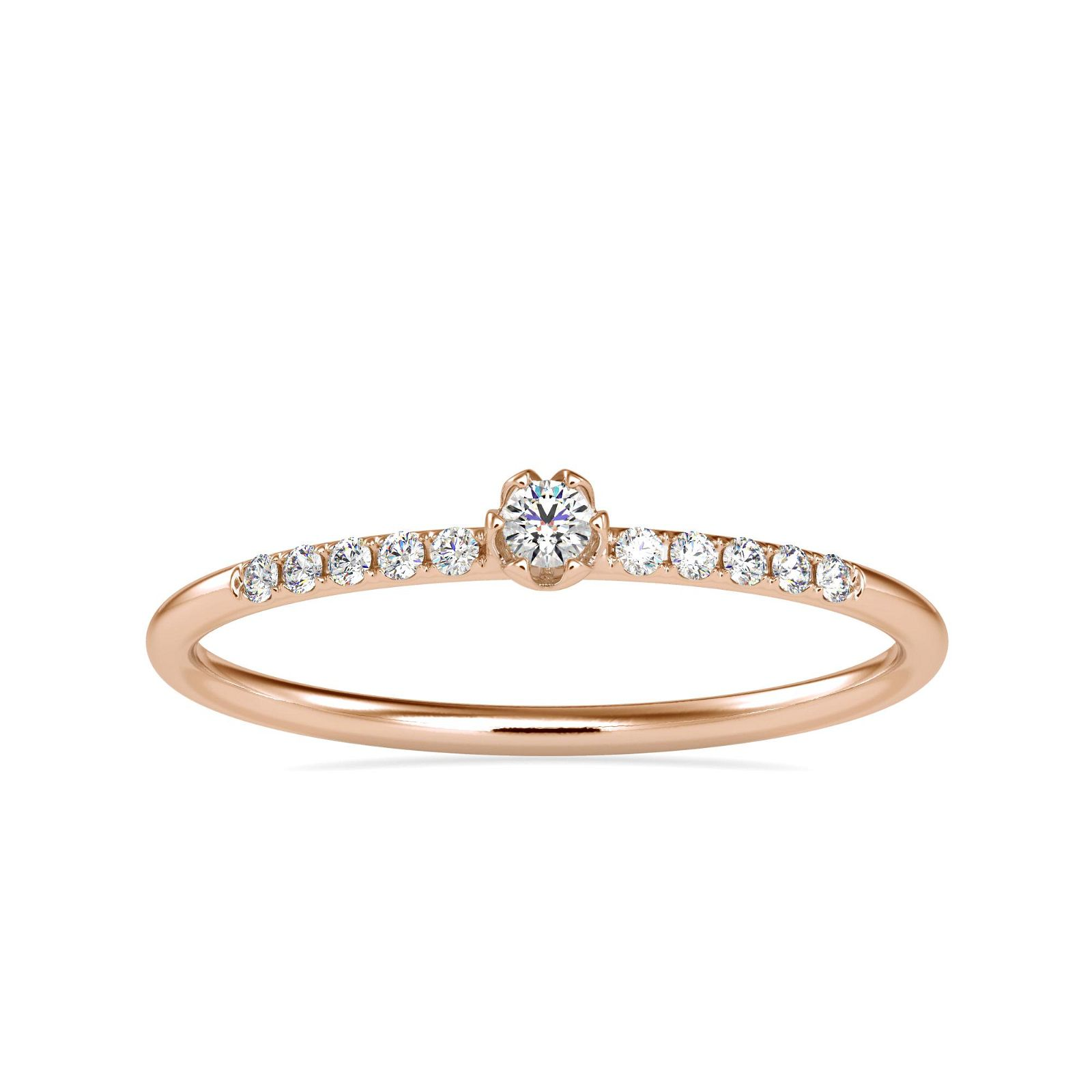 0.08CT Natural Diamond 14K Rose Gold Ring
