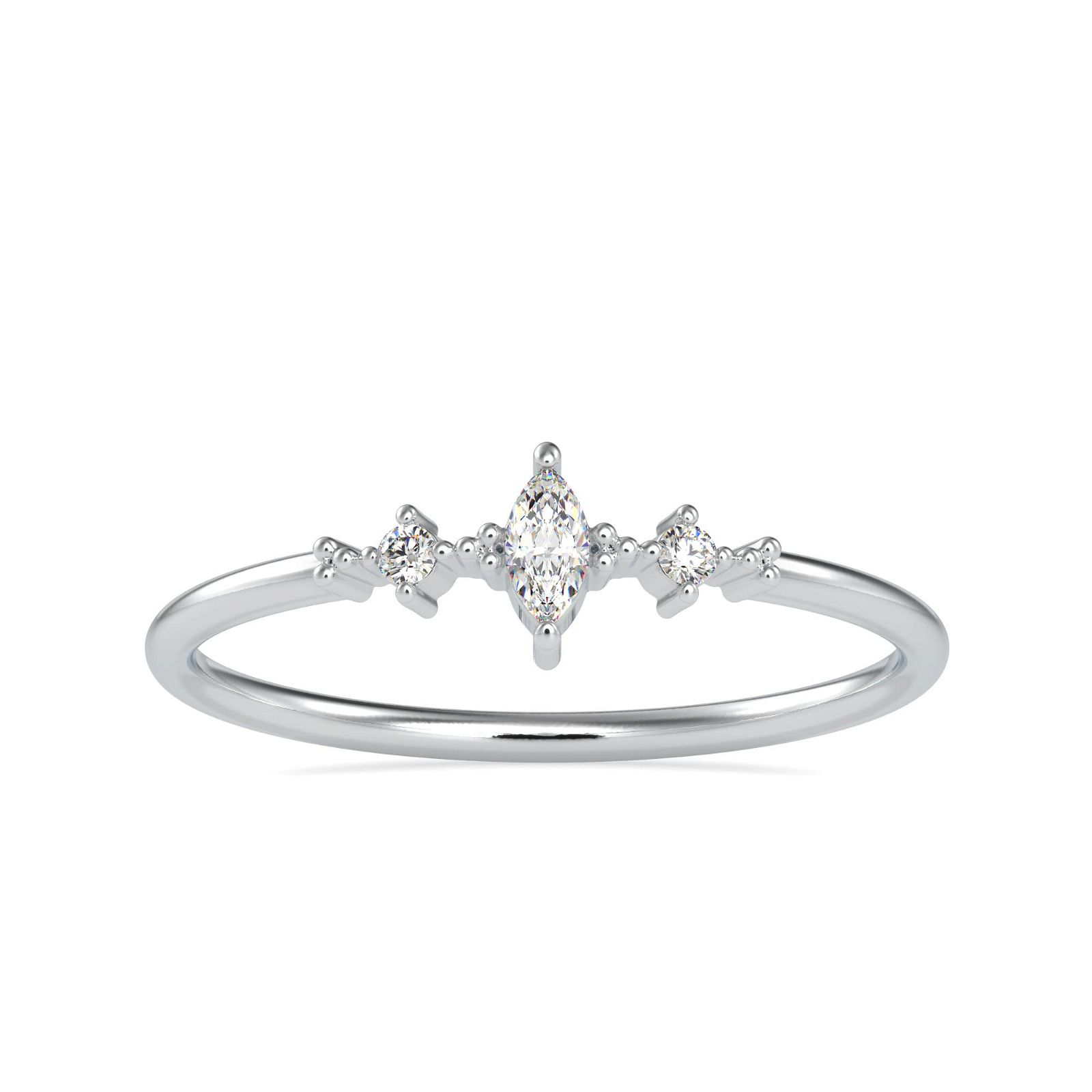 0.075CT Natural Diamond 14K White Gold Ring