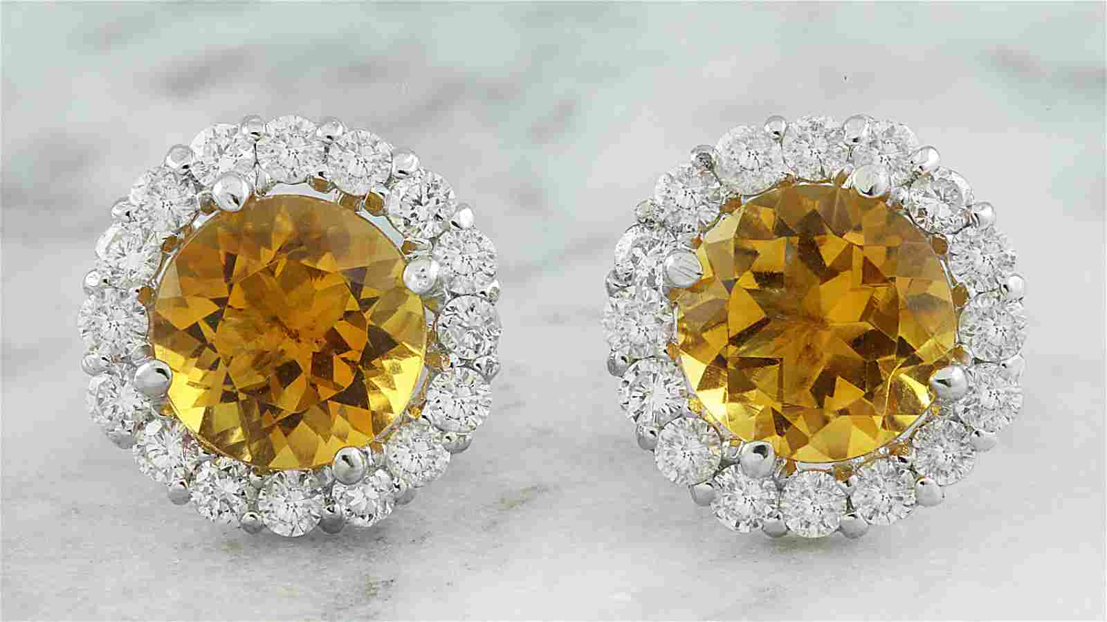 3.65 CTW Citrine 14K White Gold Diamond Earrings