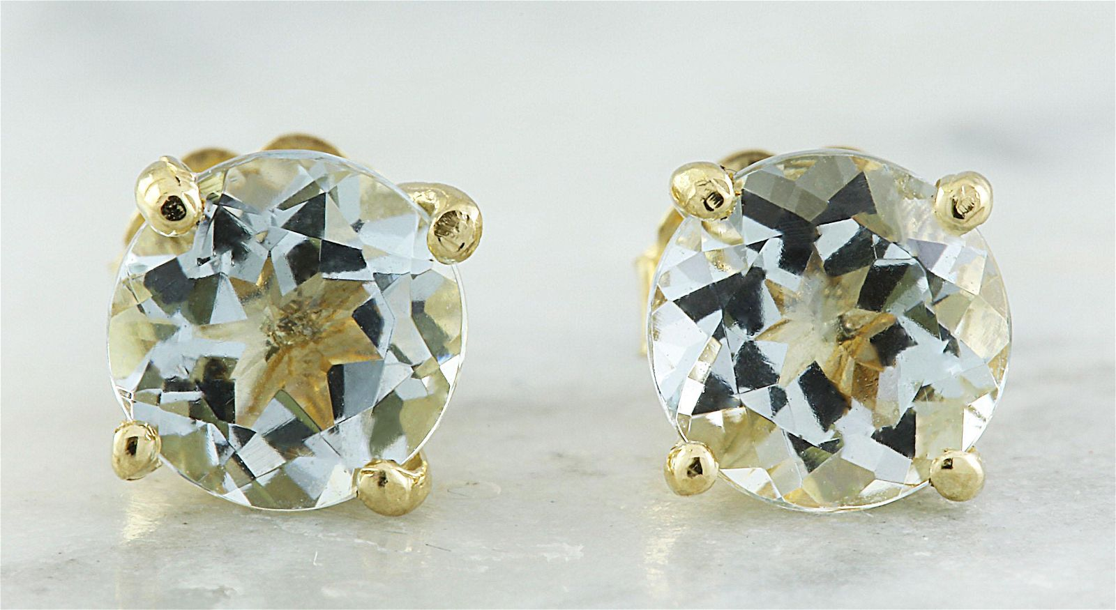 1.06 CTW Aquamarine 18K Yellow Gold Earrings