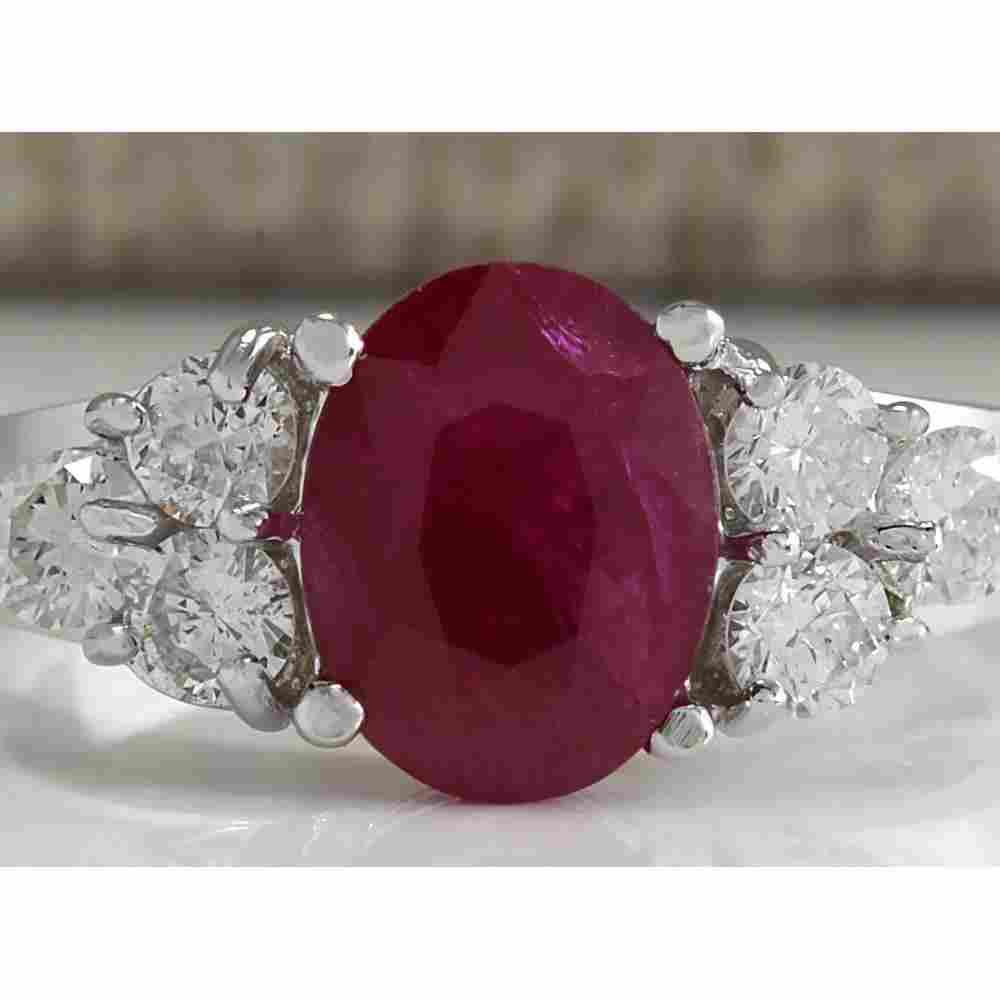 2.90 CTW Natural Red Ruby And Diamond Ring 14K Solid