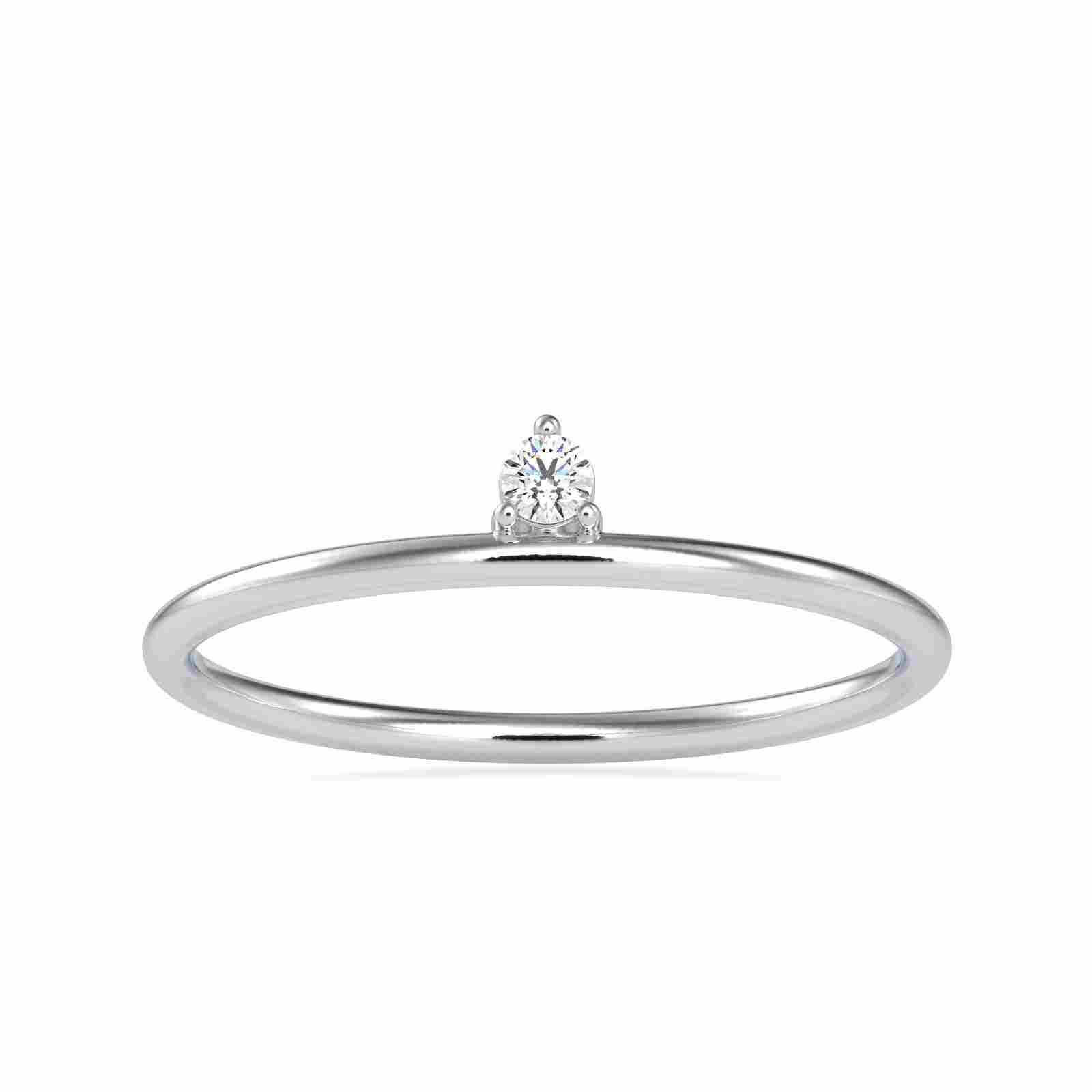 0.04CT Natural Diamond 14K White Gold Ring