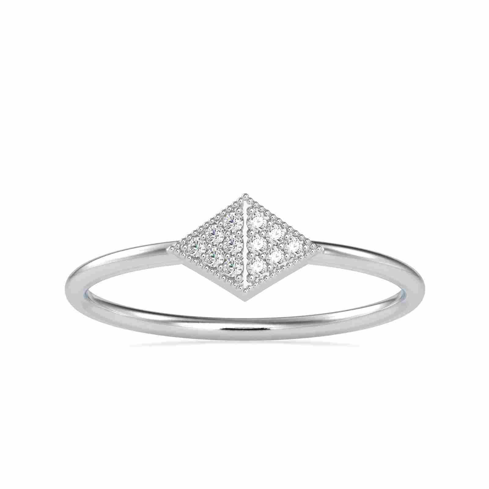 0.045CT Natural Diamond 14K White Gold Ring