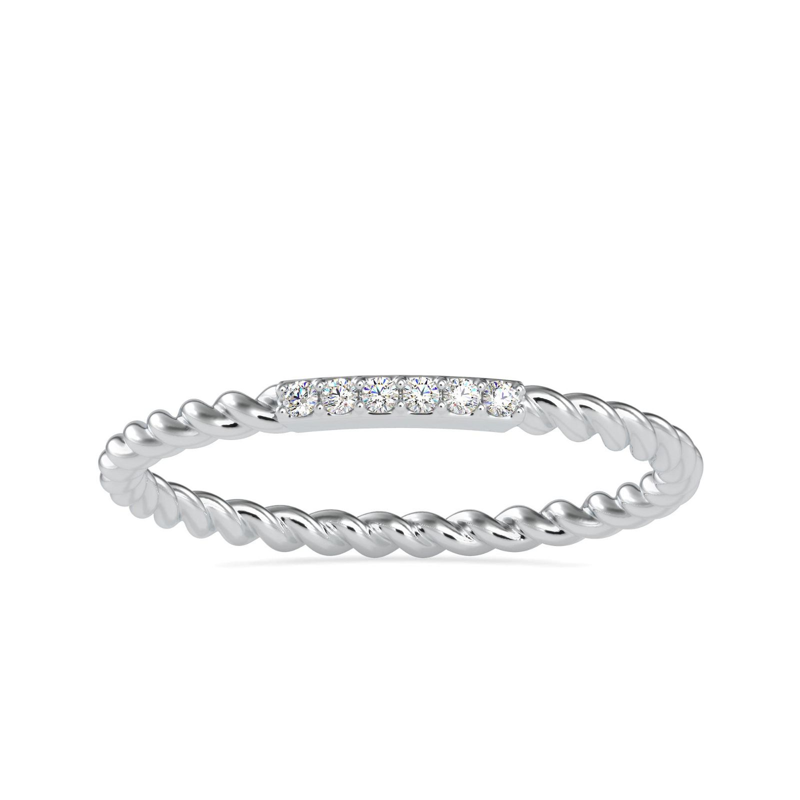 0.03CT Natural Diamond 14K White Gold Ring