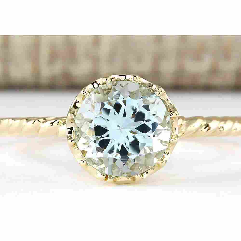 1.50 CTW Natural Aquamarine Ring In 18K Yellow Gold