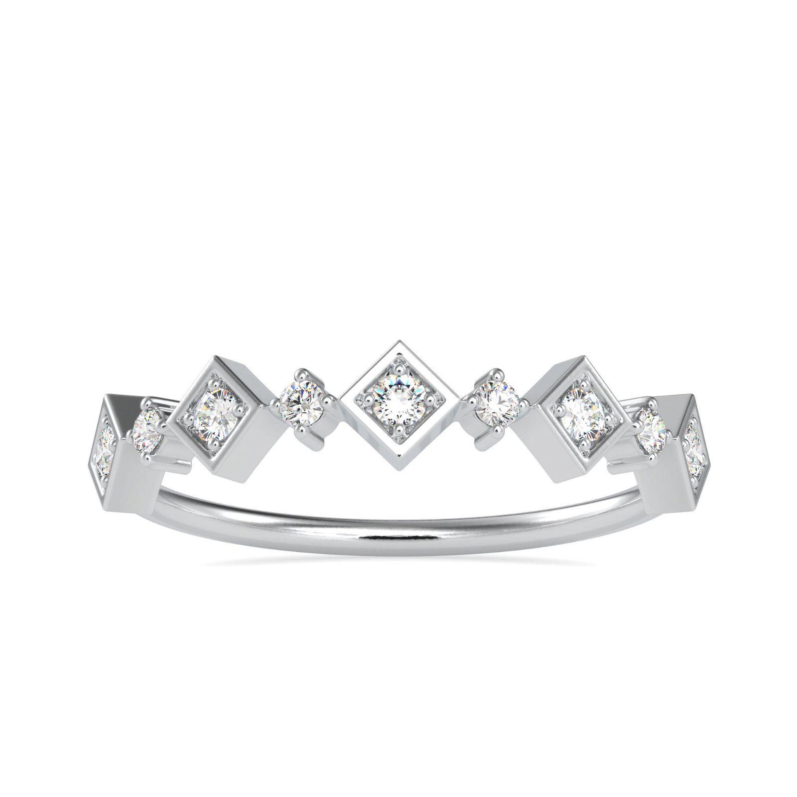 0.14CT Natural Diamond 14K White Gold Ring