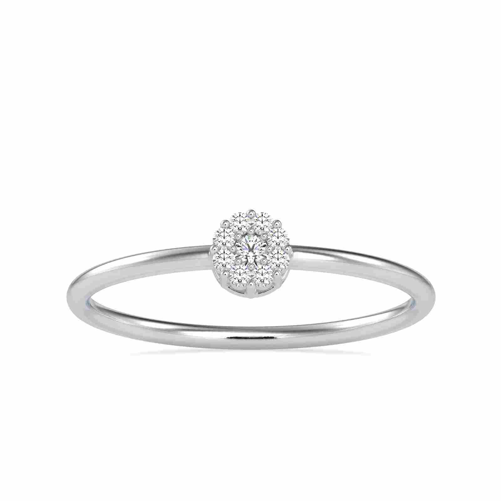 0.07CT Natural Diamond 14K White Gold Ring