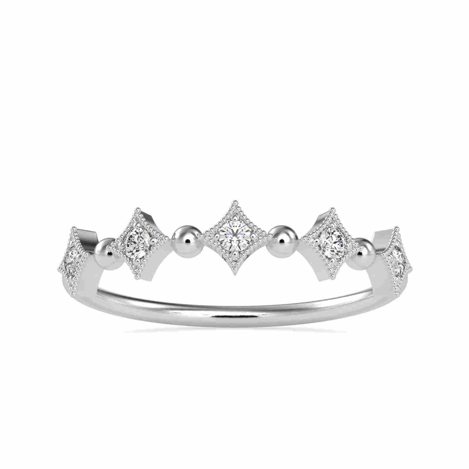 0.09CT Natural Diamond 14K White Gold Ring