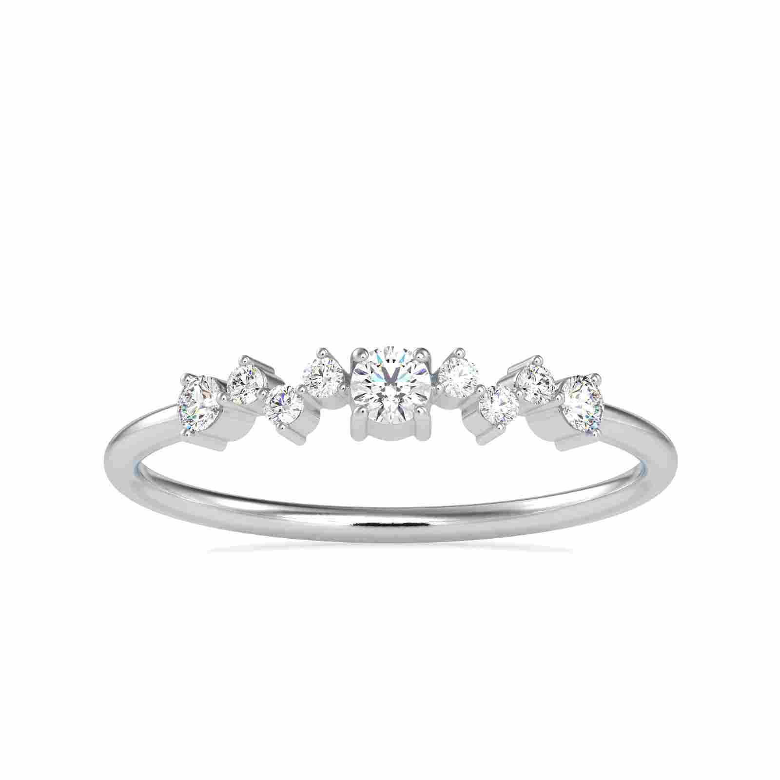0.11CT Natural Diamond 14K White Gold Ring