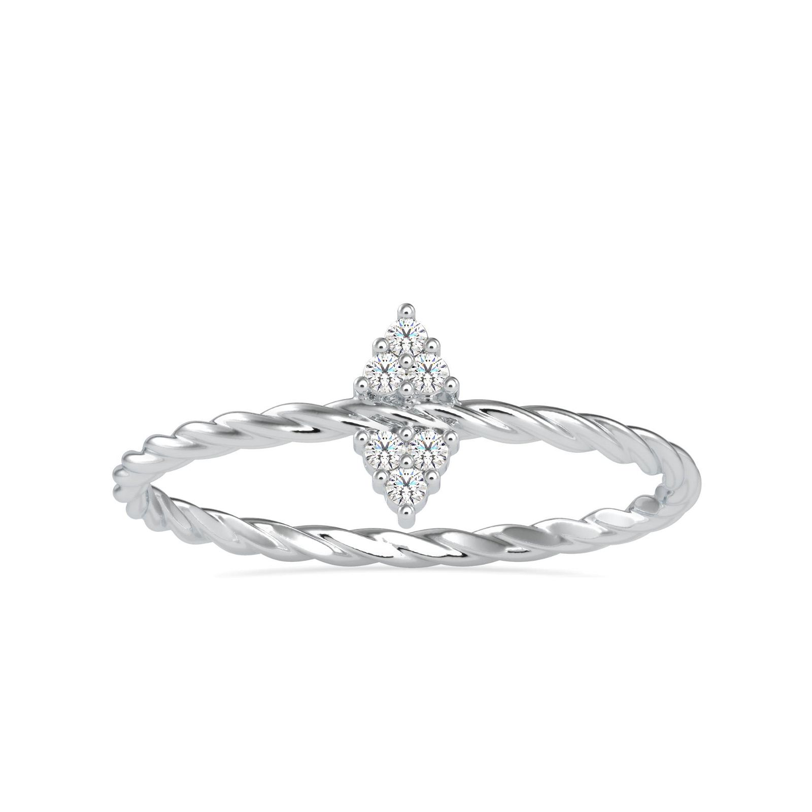 0.05CT Natural Diamond 14K White Gold Ring