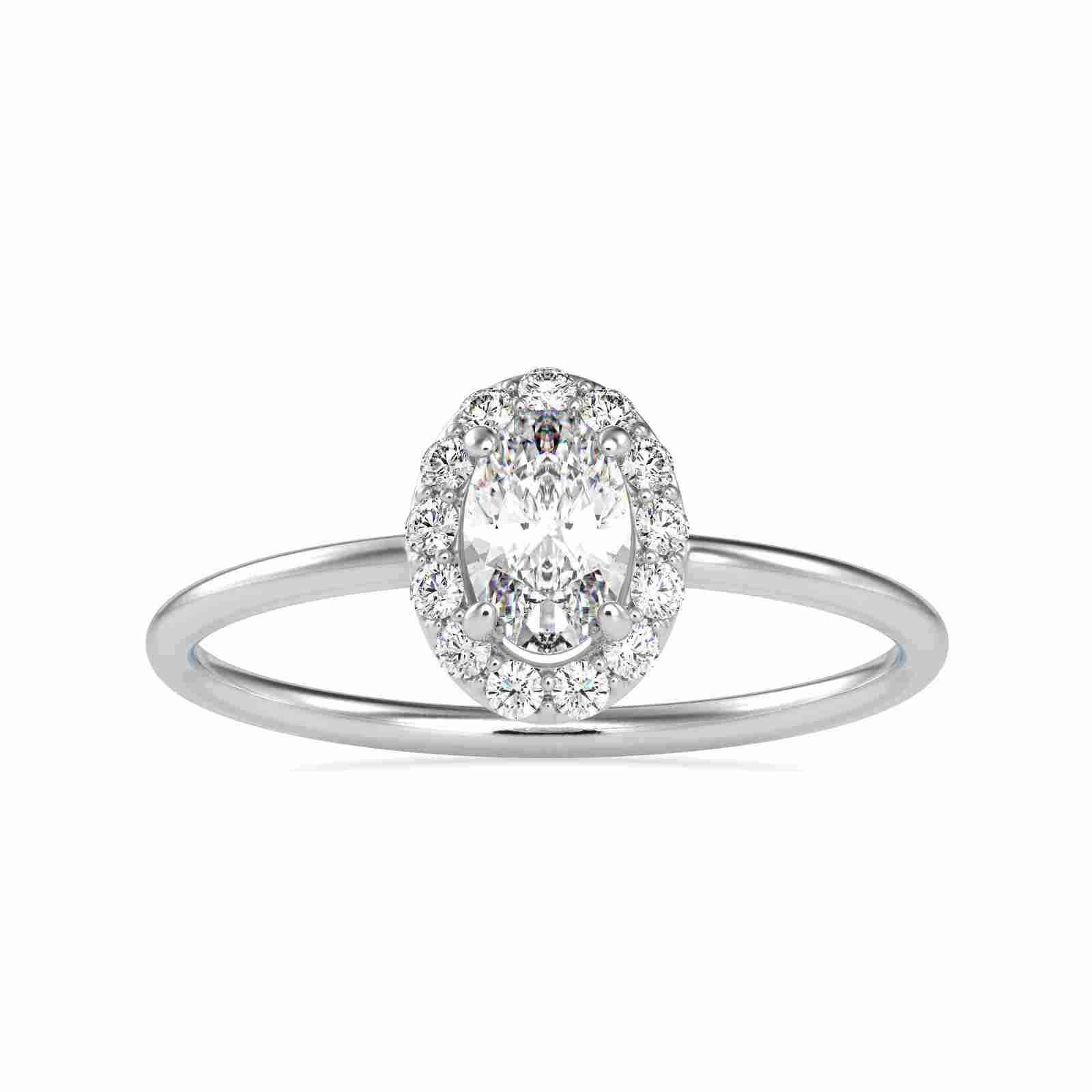 0.47CT Natural Diamond 14K White Gold Ring