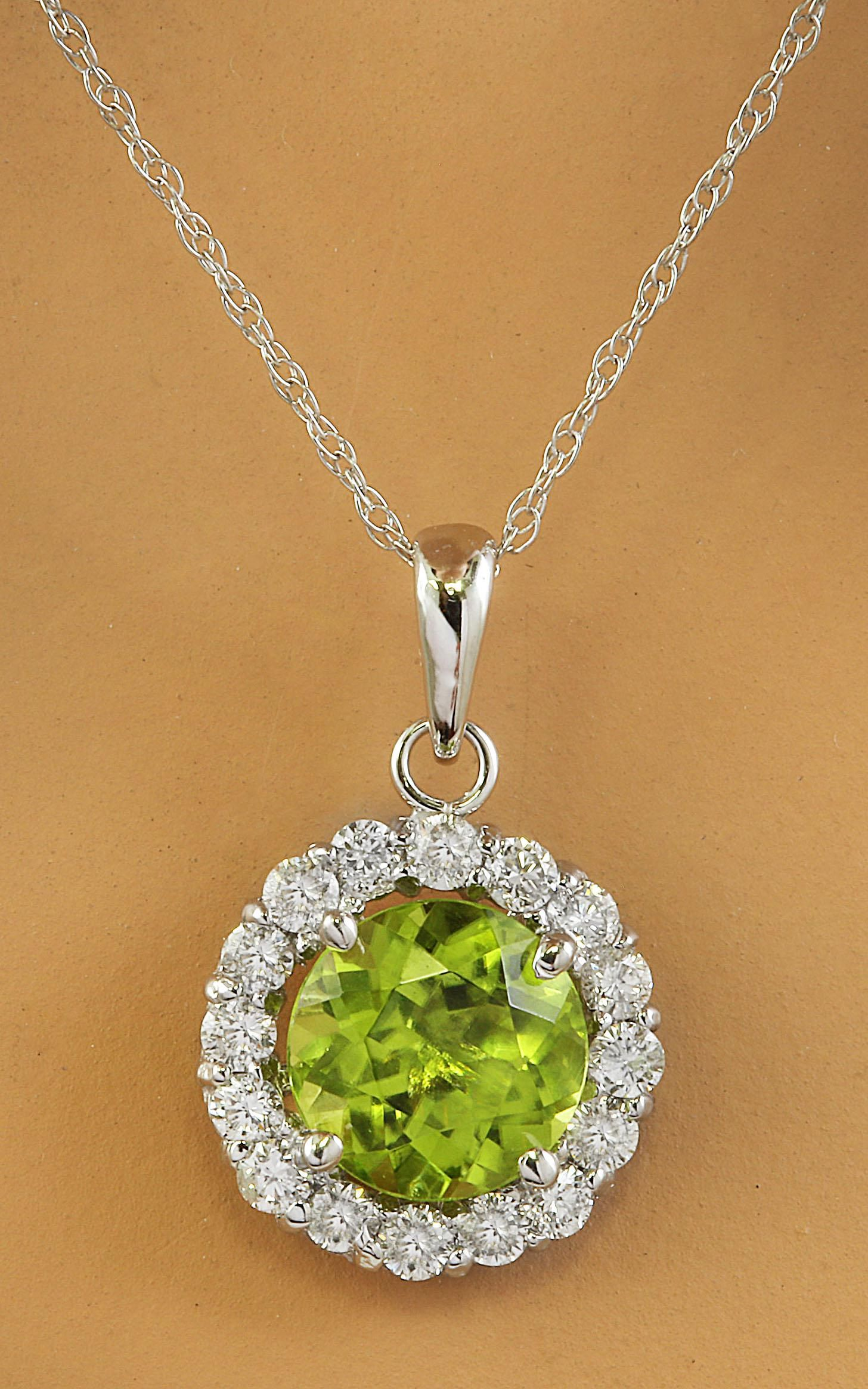 1.82 CTW Peridot 14K White Gold Diamond Necklace