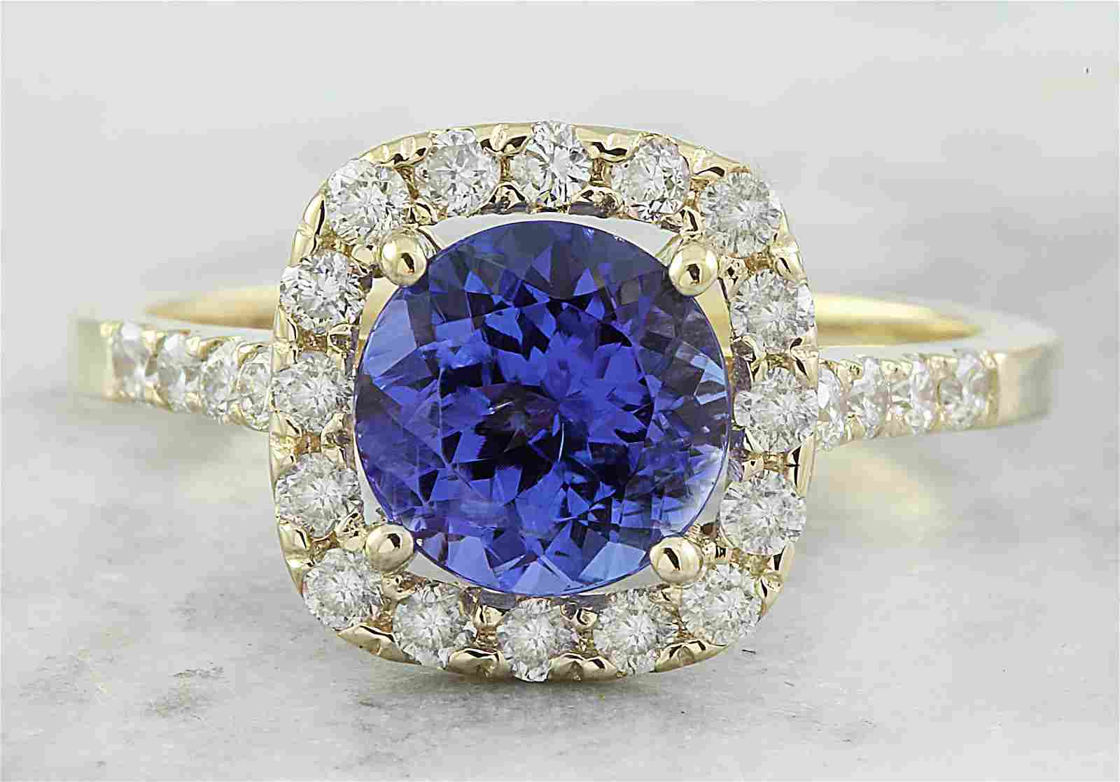2.28 CTW Tanzanite 14K Yellow Gold Diamond ring