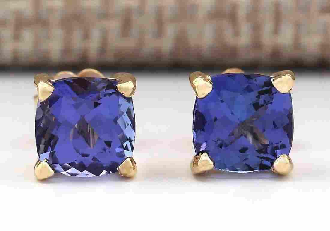 2.90 CTW Natural Blue Tanzanite Earrings 14k Solid