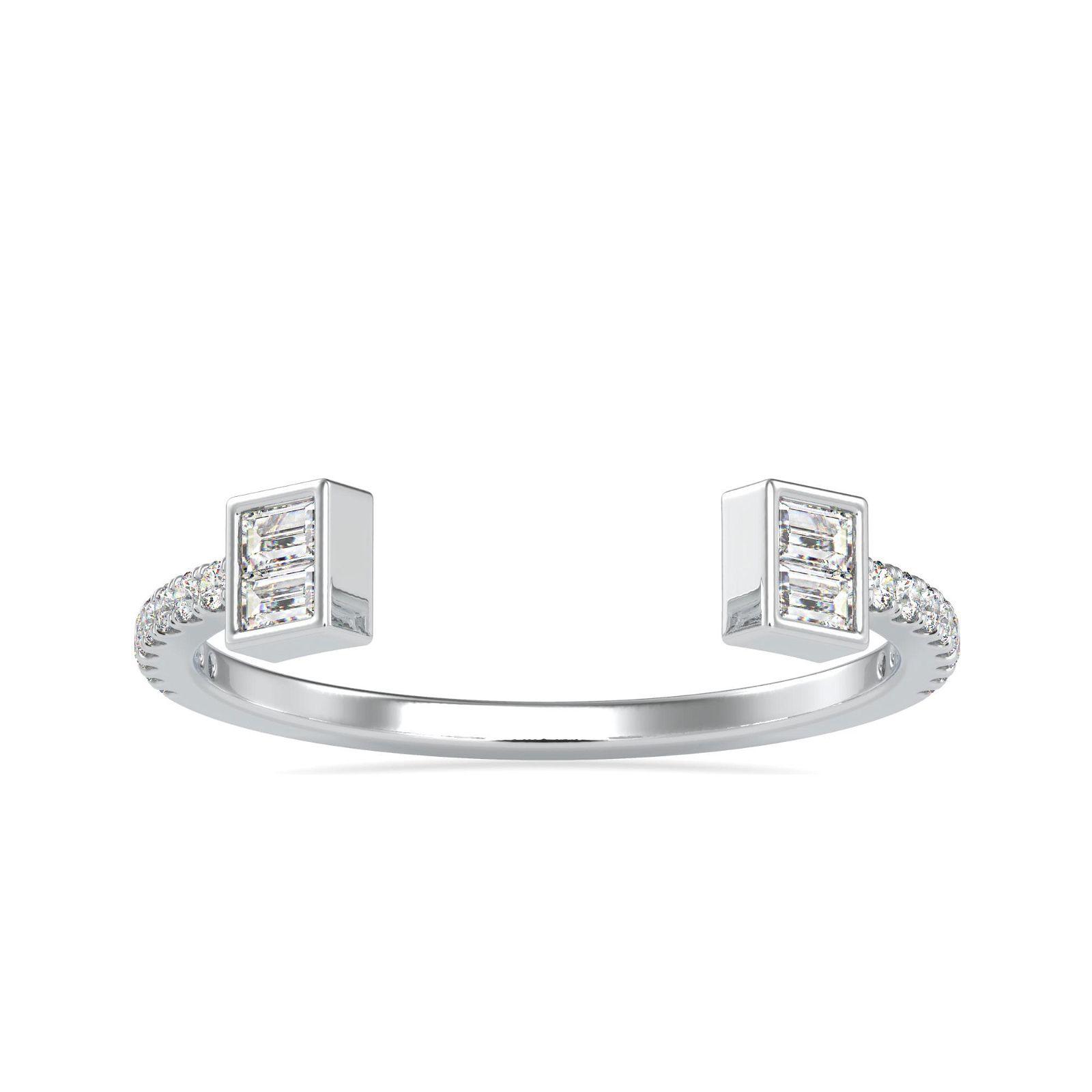0.25CT Natural Diamond 14K White Gold Ring