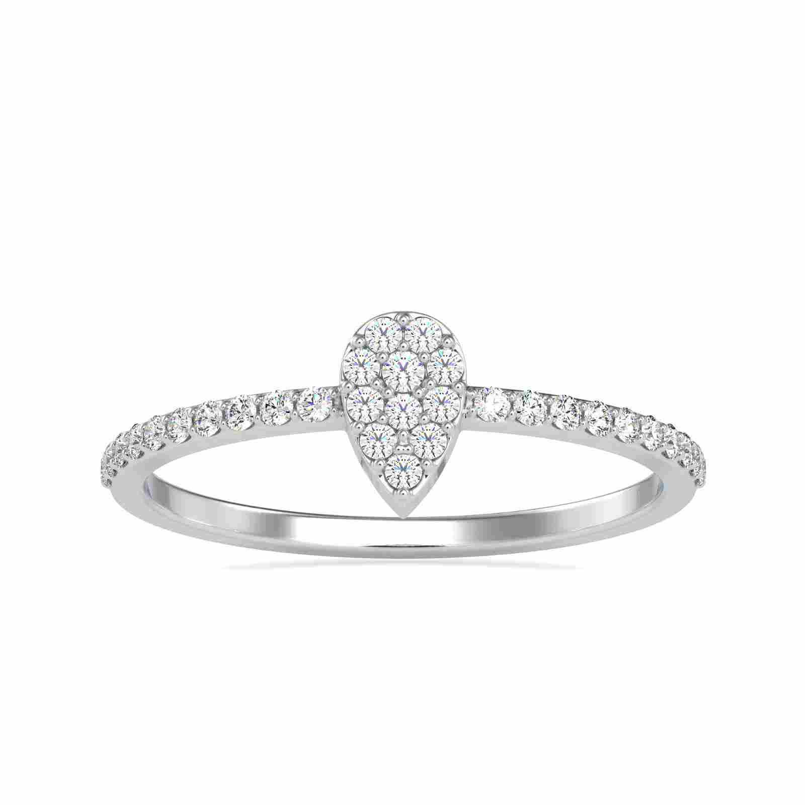 0.18CT Natural Diamond 14K White Gold Ring