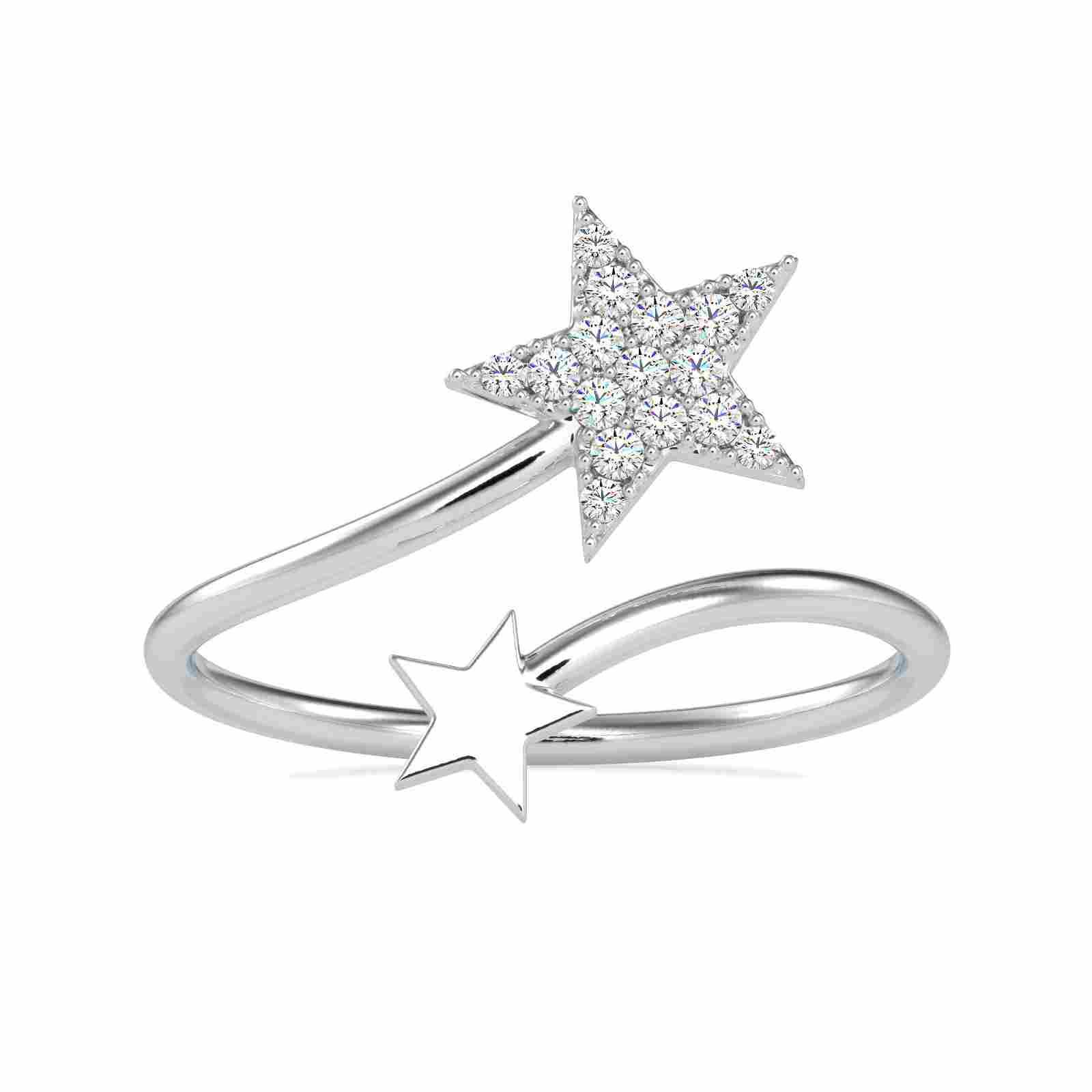 0.09CT Natural Diamond 14K White Gold Ring