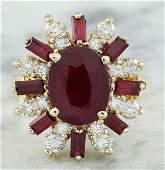 425 CTW Ruby 18K Yellow Gold Diamond Ring