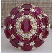 1323 CTW Natural Red Ruby And Diamond Ring 14k Solid