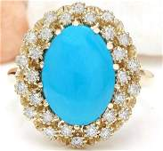 388 CTW Natural Turquoise 14K Solid Yellow Gold