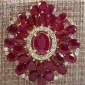5900 CTW Natural Ruby And Diamond Necklace In 14K