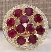 493 CTW Natural Red Ruby And Diamond Ring 14K Solid