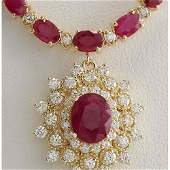 4045 CTW Natural Ruby And Diamond Necklace In 14K