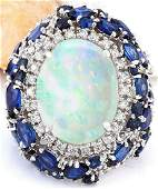 2125 CTW Natural Opal Sapphire 14K Solid White Gold