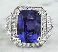 1410 CTW Tanzanite 14K White Gold iamond Ring