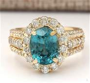 589 CTW Natural Blue Zircon And Diamond Ring 18K Solid
