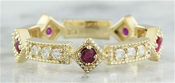 043 CTW Ruby 18K Yellow Gold Diamond Ring