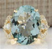 1052 CTW Natural Aquamarine And Diamond Ring In 18K