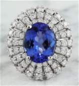 545 CTW Tanzanite 14K White Gold Diamond Ring