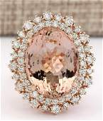 1282 CTW Natural Morganite And Diamond Ring In 14k