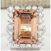 1508 CTW Natural Morganite And Diamond Ring In 14k